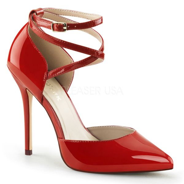 D' Orsay High-Heel Pumps Lack rot mit Riemchen AMUSE-25